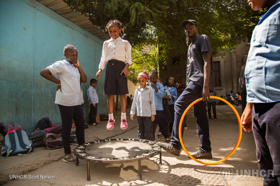 A gym class for African refugee children at the St. Andrew's Refugee Services centre in Cairo in 2016.