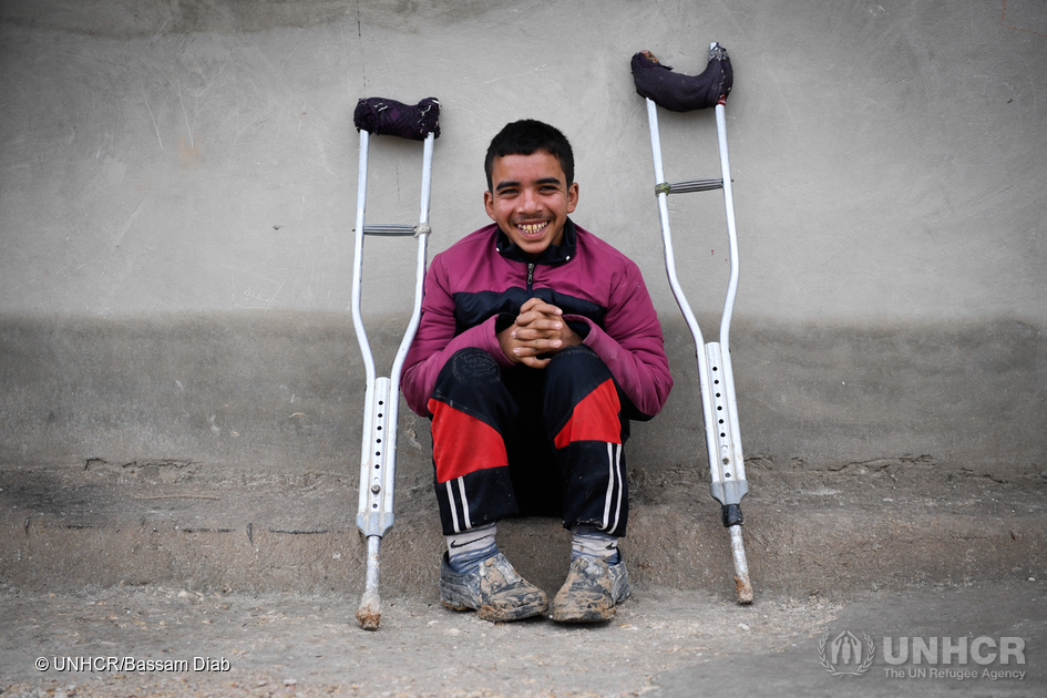 Ahmad, who suffers a birth disability, fled east Aleppo last month along with his mother and sought refuge at Jibreen collective shelter where he attends a UN funded remedial classes to catch up with his education.